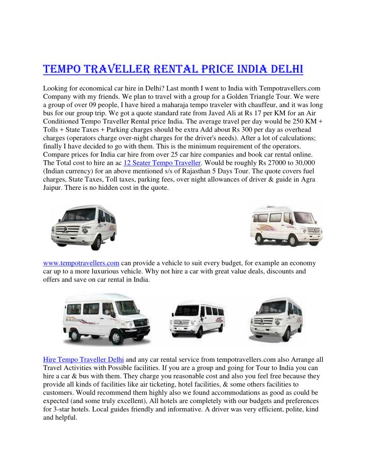 Tempo Traveller Rental price India Delhi