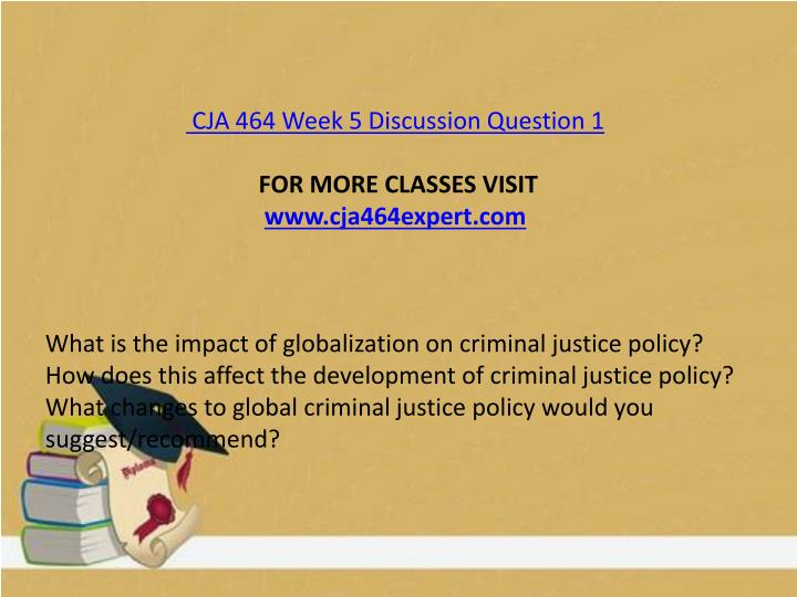 CJA 464 Week 5 Discussion Question 1