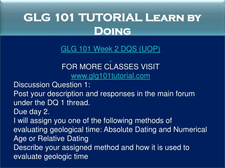 GLG 101 TUTORIAL Learn by Doing