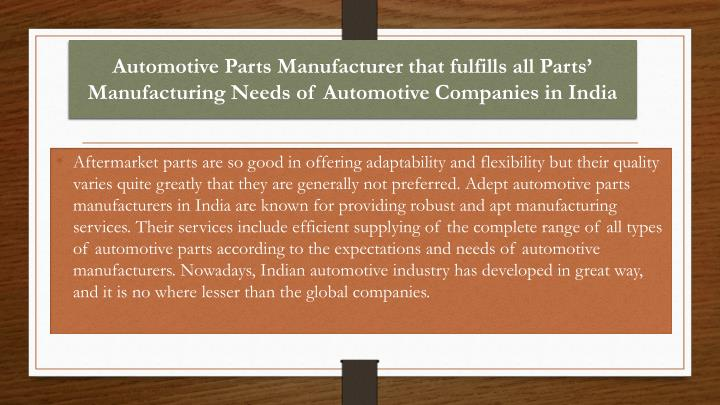 Automotive Parts Manufacturer that fulfills all Parts' Manufacturing Needs of Automotive Companies...