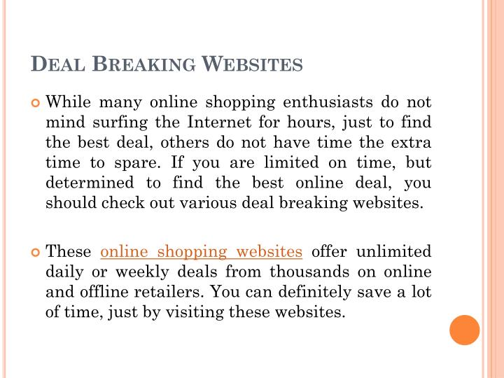 Deal Breaking Websites