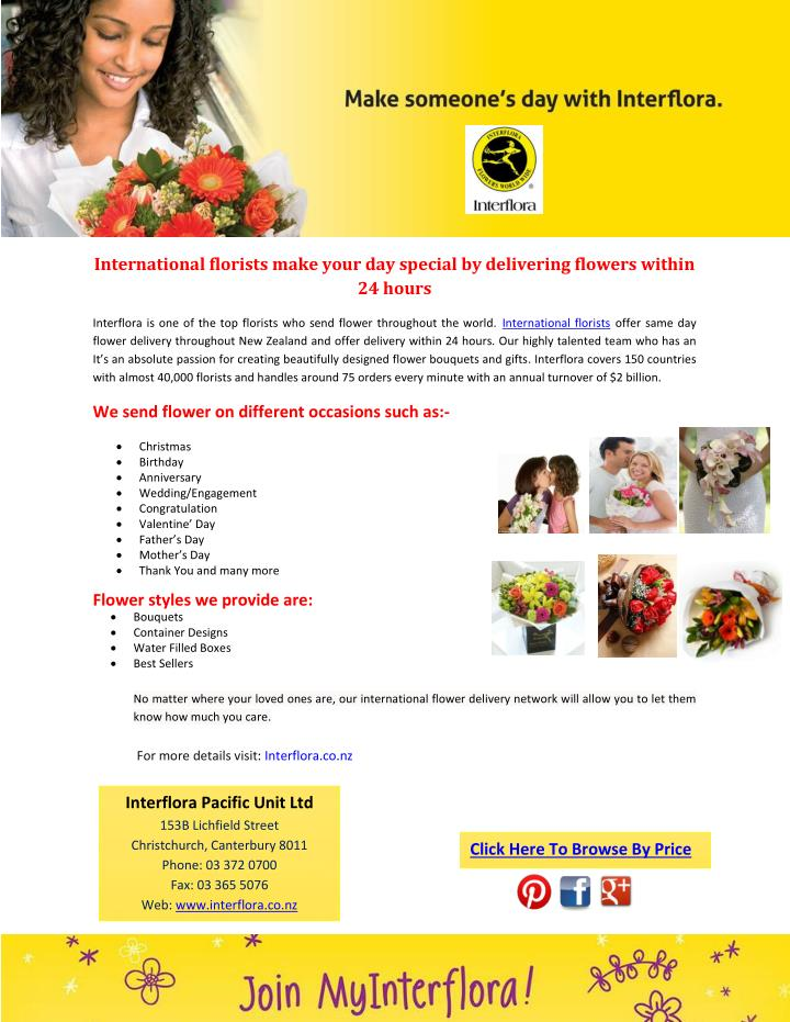International florists make your day special by delivering flowers within
