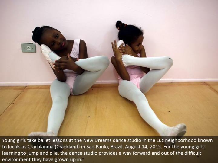 Young young ladies take artful dance lessons at the New Dreams move studio in the Luz neighborhood referred to local people as Cracolandia (Crackland) in Sao Paulo, Brazil, August 14, 2015. For the young ladies figuring out how to bounce and plie, the move studio gives a route forward and out of the troublesome environment they have grown up in.