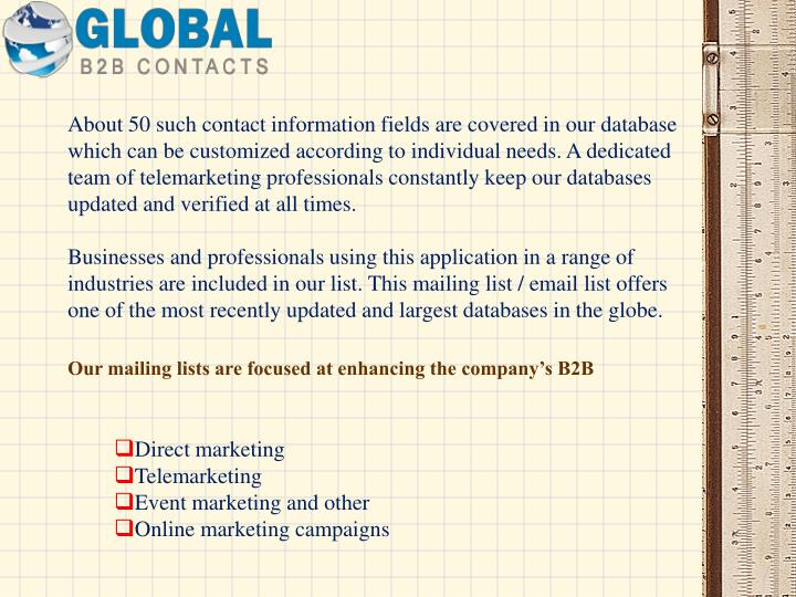 About 50 such contact information fields are covered in our database which can be customized according to individual needs. A dedicated team of telemarketing professionals constantly keep our databases updated and verified at all times.