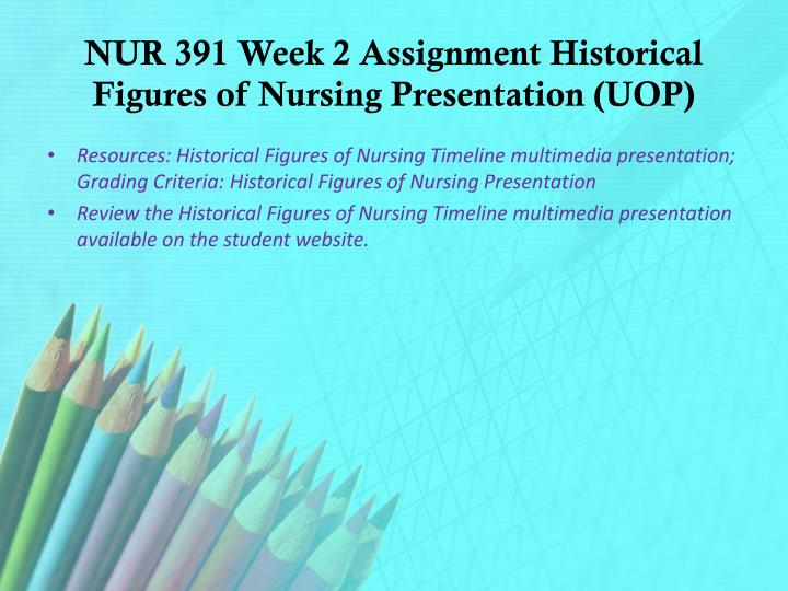NUR 391 Week 2 Assignment Historical Figures of Nursing Presentation (UOP)