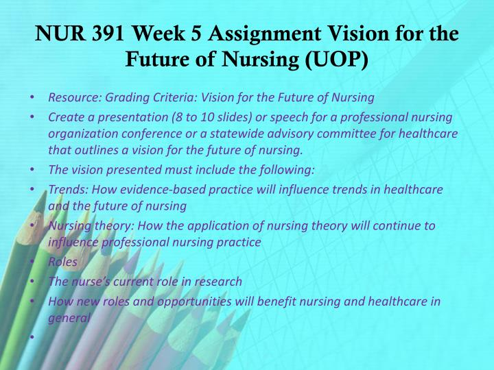 NUR 391 Week 5 Assignment Vision for the Future of Nursing (UOP)