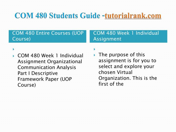 COM 480 Students Guide -
