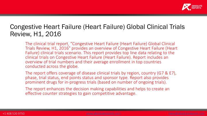 Congestive Heart Failure (Heart Failure) Global Clinical Trials Review, H1, 2016