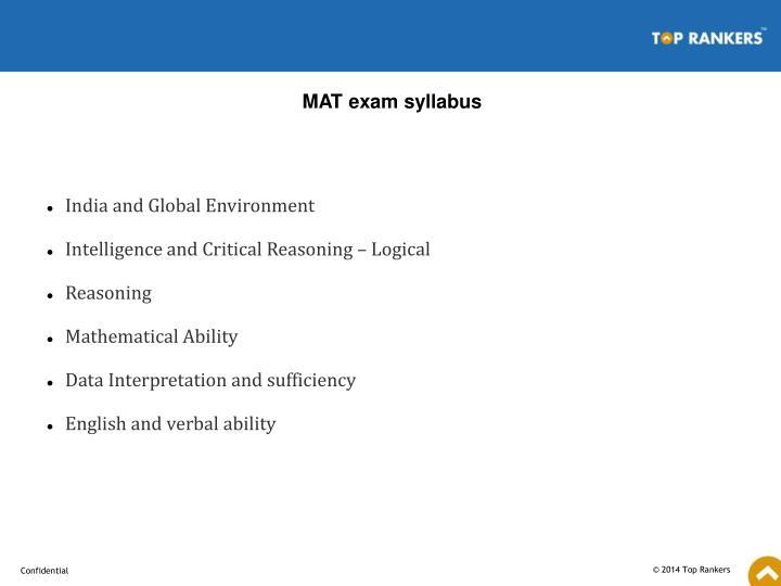 MAT exam syllabus