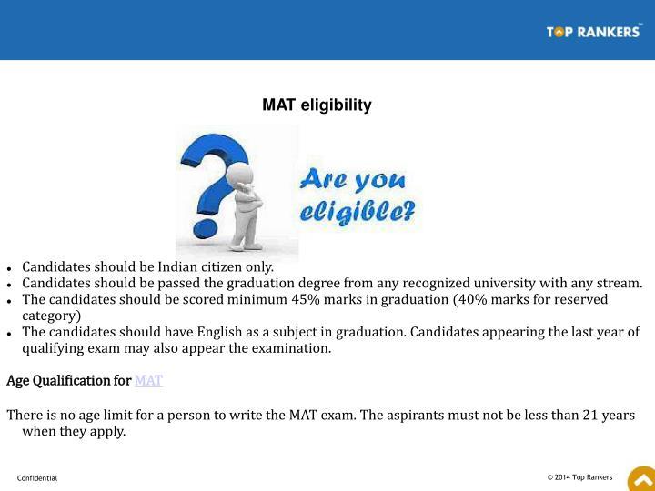 MAT eligibility
