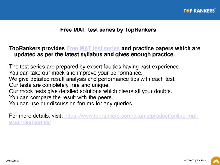 Free MAT  test series by TopRankers