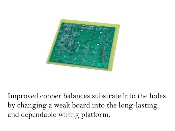 Improved copper balances substrate into the holes by changing a weak board into the long-lasting and dependable wiring platform.
