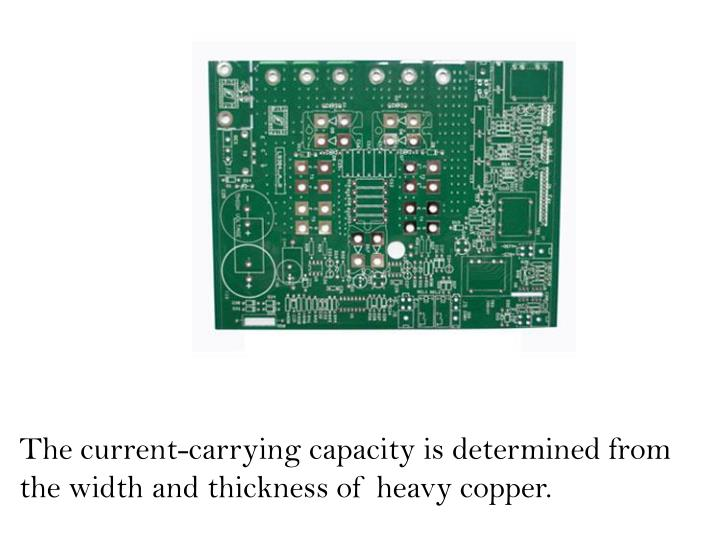 The current-carrying capacity is determined from the width and thickness of heavy copper.