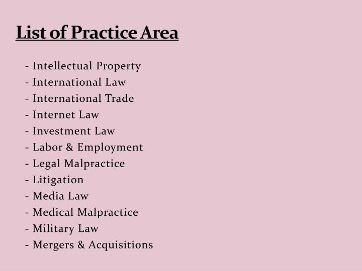 List of Practice Area