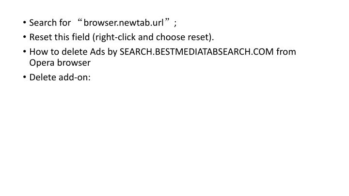 "Search for ""browser.newtab.url"";"