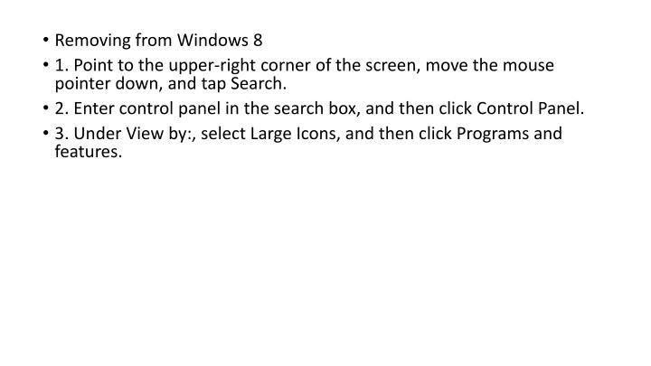 Removing from Windows 8