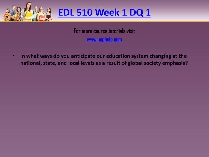 EDL 510 Week 1 DQ