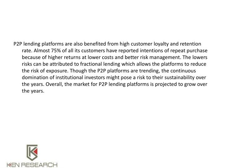 P2P lending platforms are also benefited from high customer loyalty and retention rate. Almost 75% of all its customers have reported intentions of repeat purchase because of higher returns at lower costs and better risk management. The lowers risks can be attributed to fractional lending which allows the platforms to reduce the risk of exposure. Though the P2P platforms are trending, the continuous domination of institutional investors might pose a risk to their sustainability over the years. Overall, the market for P2P lending platforms is projected to grow over the years.