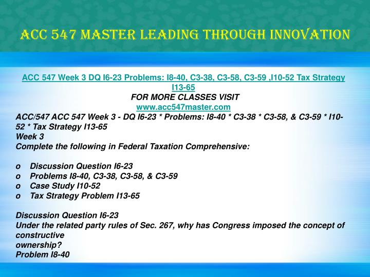 ACC 547 MASTER Leading through innovation