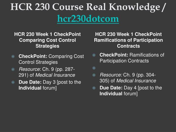 HCR 230 Week 7 Assignment