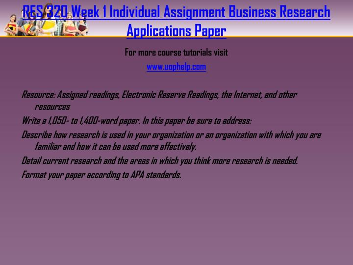 business research applications paper res 320 Need help german homework business research applications paper best res 320 week 1 individual society for business research promotion this paper.