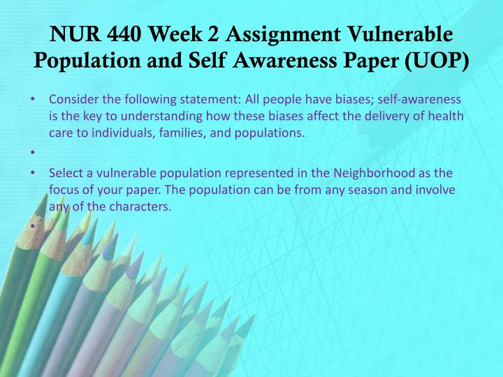vulnerable population and self awareness View essay - vulnerable population and self awareness from nur 440 at university of phoenix running head: vulnerable population and self awareness 1 vulnerable population and self awareness nursing.