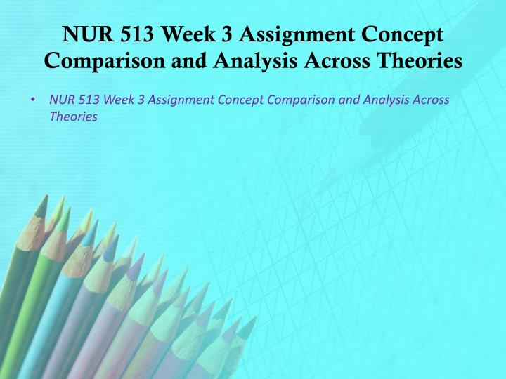 NUR 513 Week 3 Assignment Concept Comparison and Analysis Across Theories