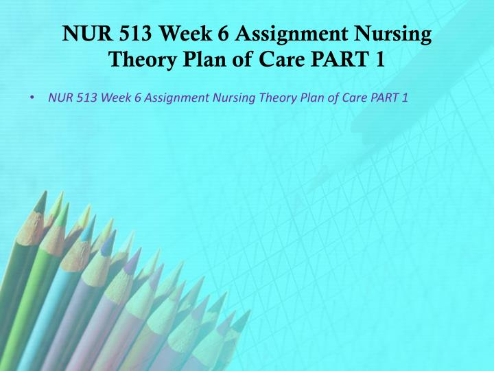 NUR 513 Week 6 Assignment Nursing Theory Plan of Care PART 1