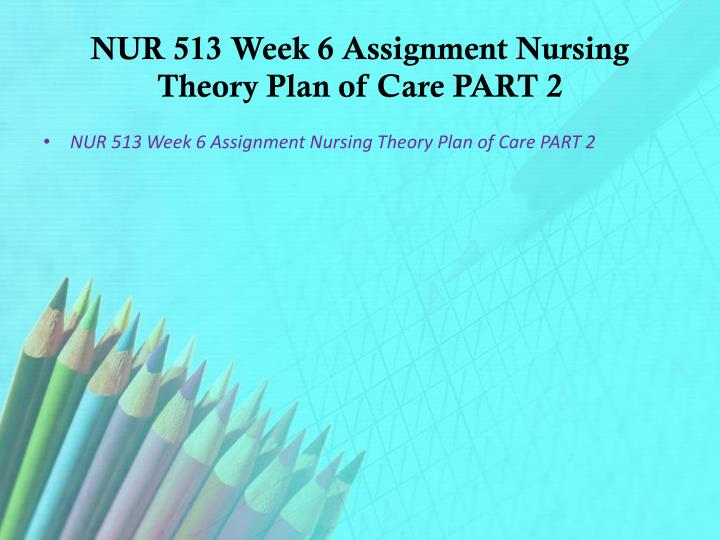 NUR 513 Week 6 Assignment Nursing Theory Plan of Care PART 2