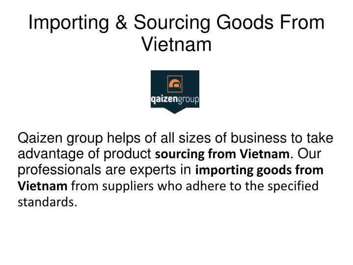Importing sourcing goods from vietnam