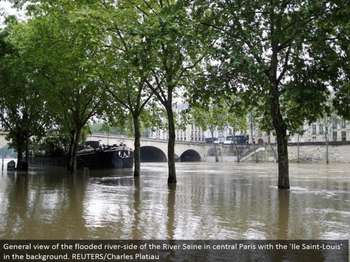 General perspective of the overwhelmed stream side of the River Seine in focal Paris with the 'Ile Saint-Louis' out of sight. REUTERS/Charles Platiau