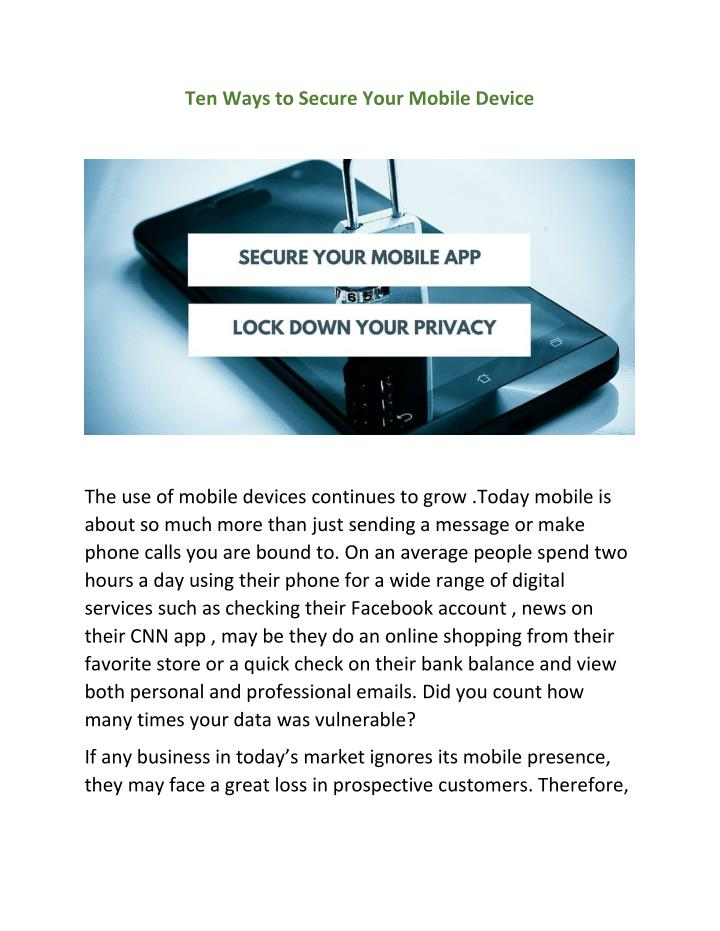 Ten Ways to Secure Your Mobile Device