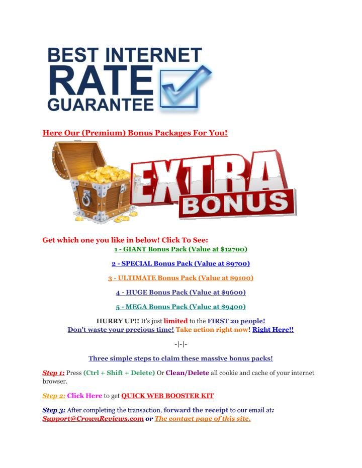 Here Our (Premium) Bonus Packages For You!