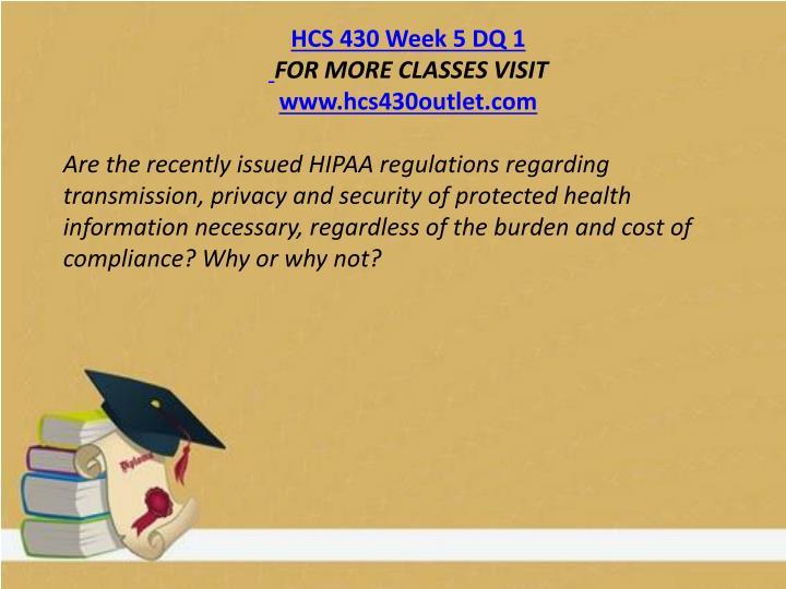 HCS 430 Week 5 DQ 1