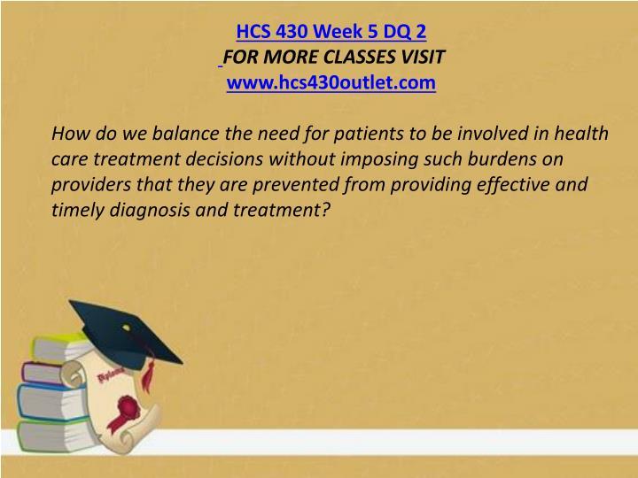 HCS 430 Week 5 DQ 2