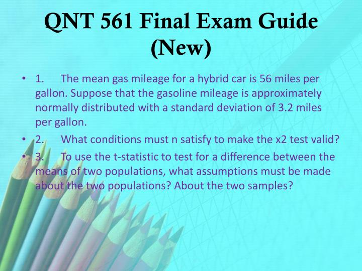 Qnt 561 final exam guide new