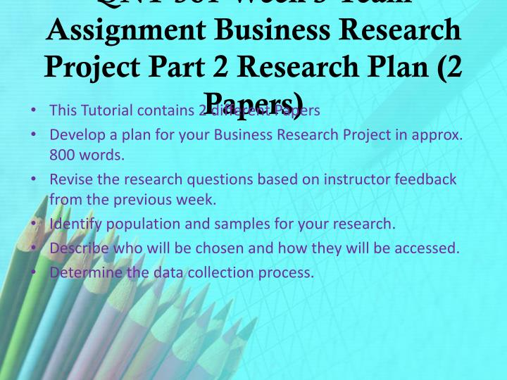 QNT 561 Week 3 Team Assignment Business Research Project Part 2 Research Plan (2 Papers)