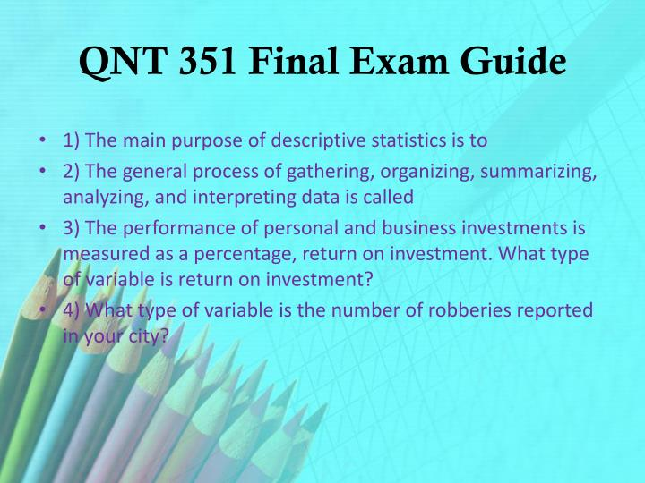 QNT 351 Final Exam Guide