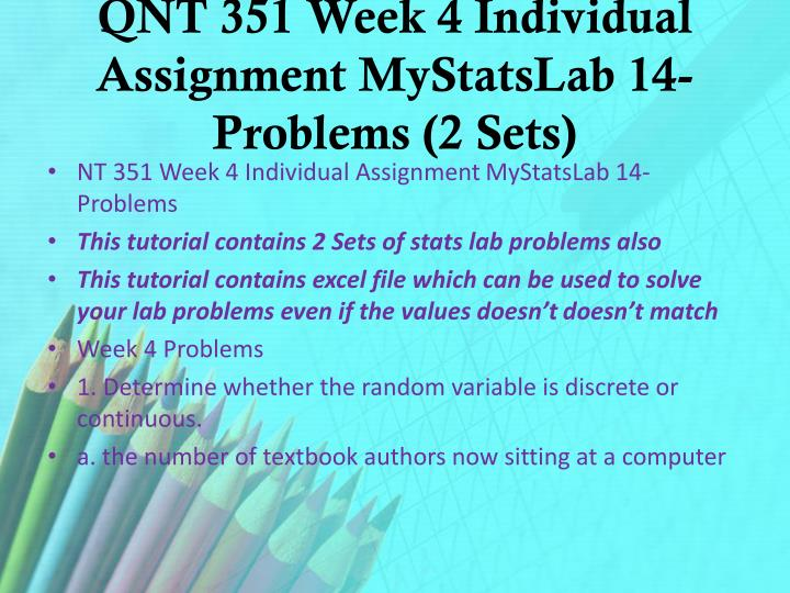 QNT 351 Week 4 Individual Assignment