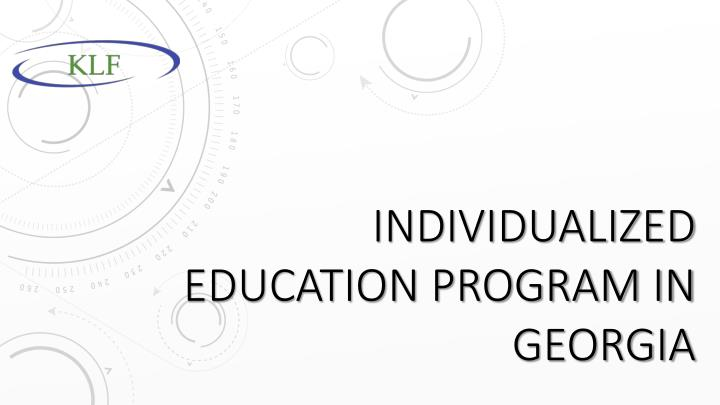Individualized education program in georgia