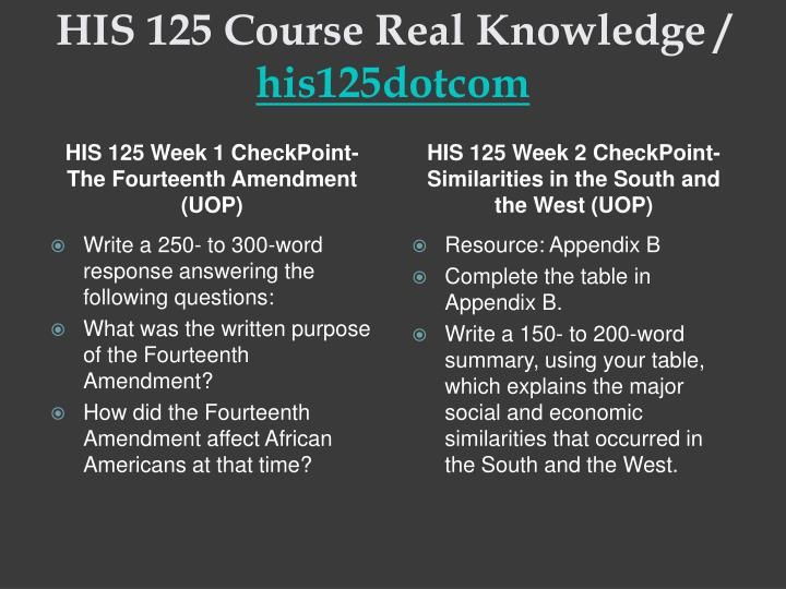 His 125 course real knowledge his125dotcom2