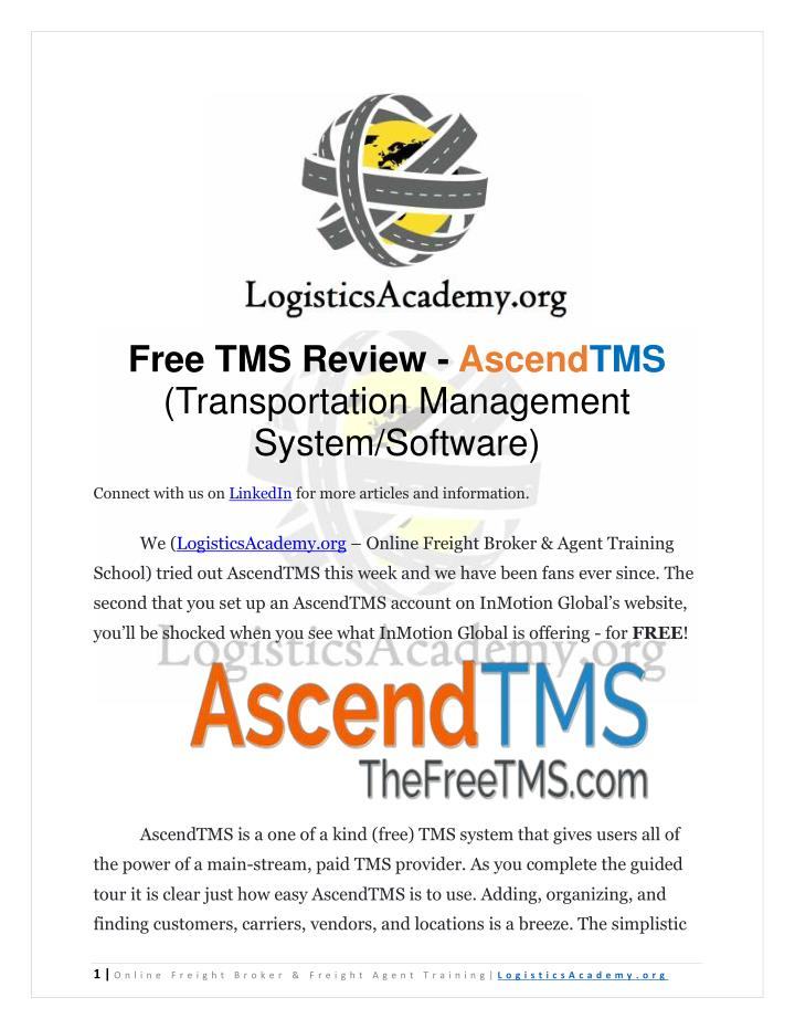 Free TMS Review - AscendTMS