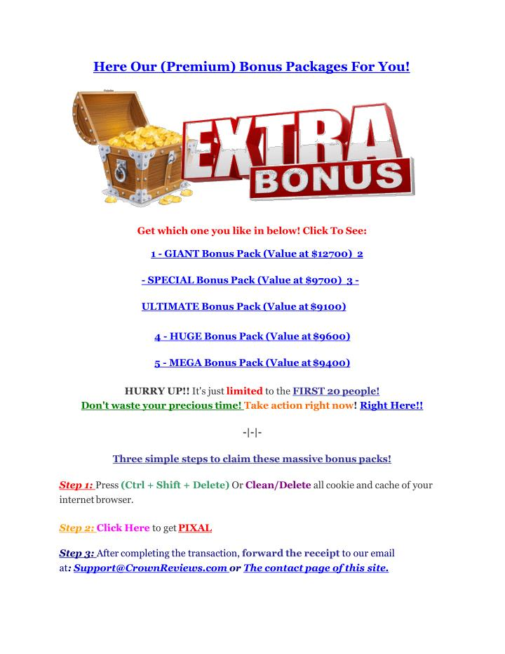 Here Our (Premium) Bonus Packages