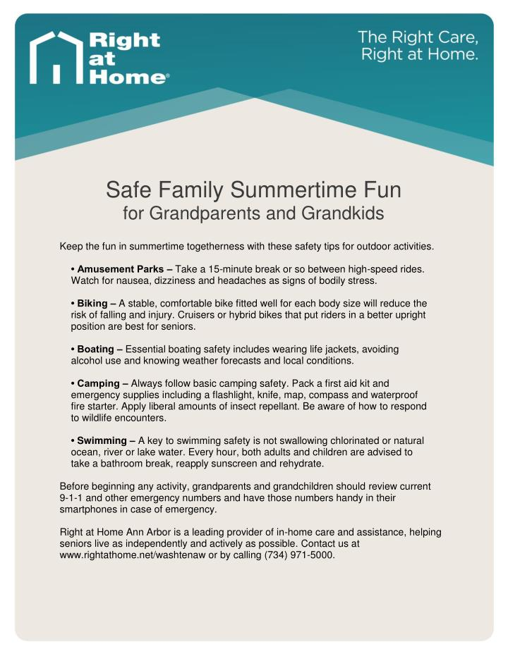 Safe Family Summertime Fun