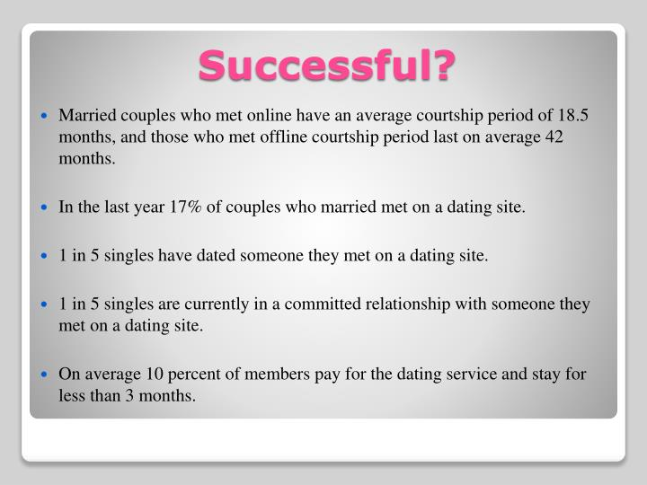 Married couples who met online have an average courtship period of 18.5 months, and those who met offline courtship period last on average 42 months.