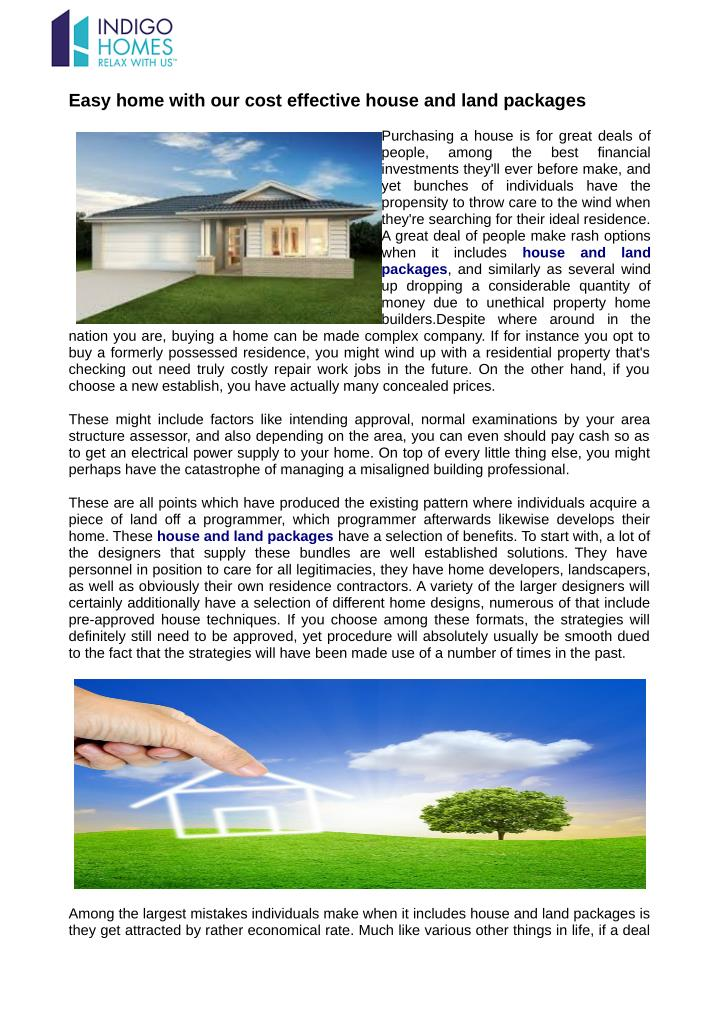 how to buy a home and land package