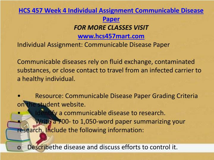HCS 457 Week 4 Individual Assignment Communicable Disease Paper