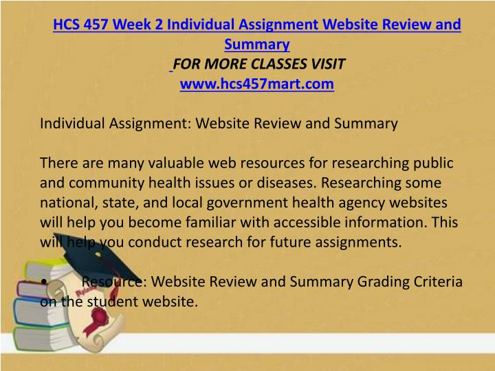 HCS 457 Week 2 Individual Assignment Website Review and Summary