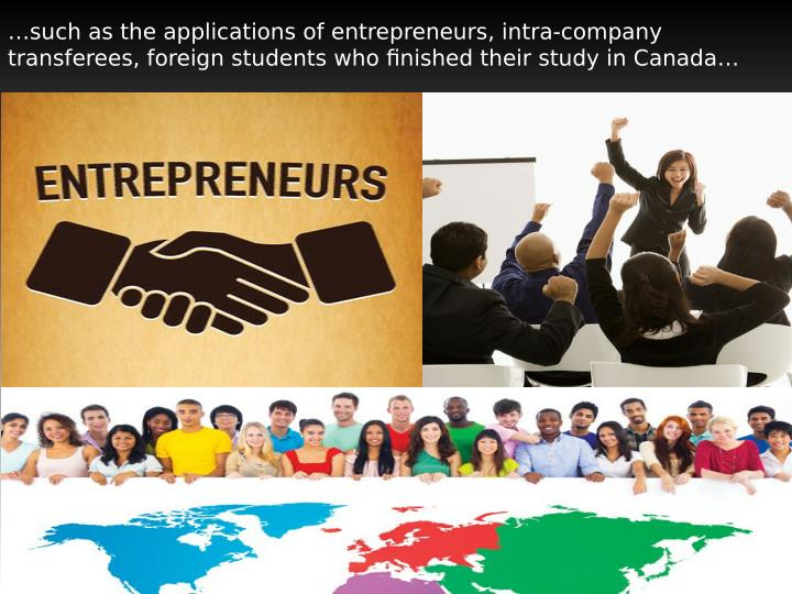 …such as the applications of entrepreneurs, intra-company