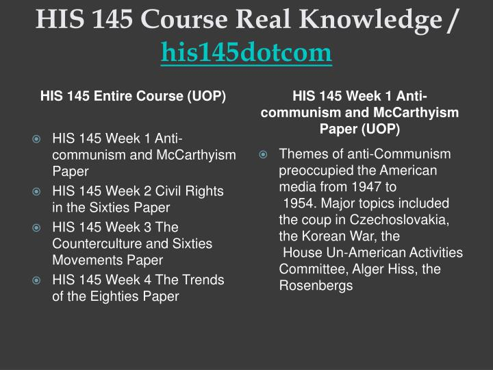 His 145 course real knowledge his145dotcom1